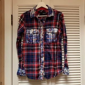 Plaid & Acid Wash Hurley Button Down Shirt